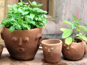 Handmade terracotta pots are great for kids' gardens