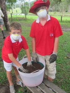 Wear protective clothing when making potting mix