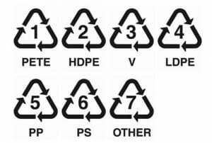 Look out for a small triangular recycling symbol usually on the base of plastic materials.