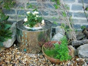 Rather than throwing broken white goods away, one creative gardener has reused the cylinder from a washing machine as an attractive planter.