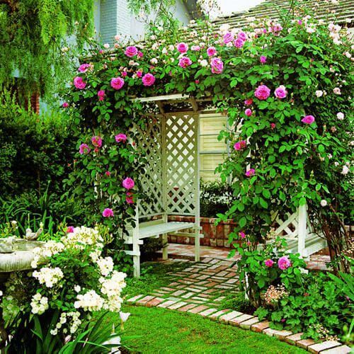 This stunning arbor of roses draws you into the garden room and beyond