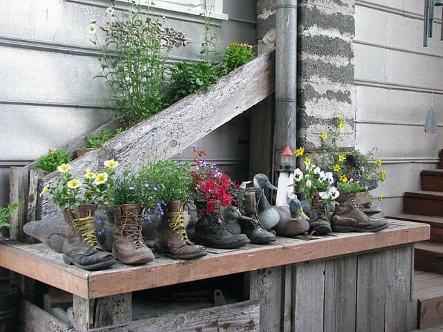Boot planter collection via By Way of Salem Blog.