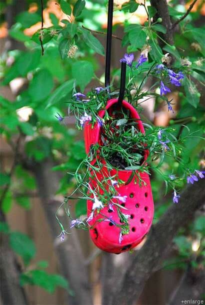 Repurposed colourful croc hanging planter from Green Upgrader.