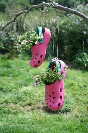 Creative and colourful croc hanging planters - Photo: Mary Clark
