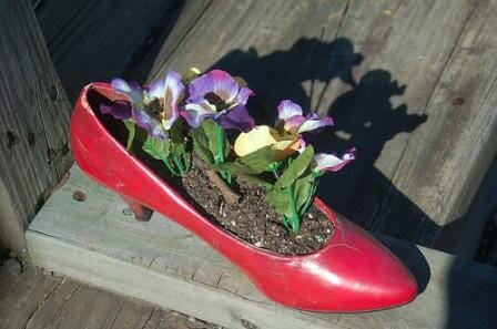 Red high heel planter.  Photo: Marshall Holcomb