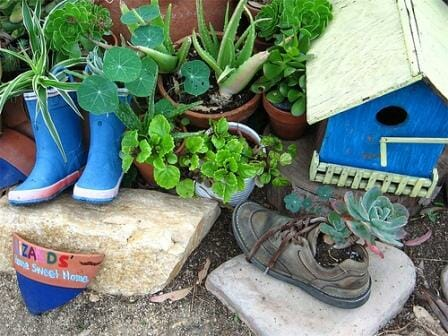 Repurpose with a purpose - This cute garden is from Lizard's Home Sweet Home.  Photo: Rabbit_mage