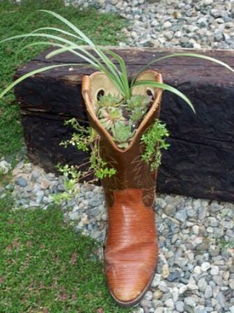 Cowboy boot planter - a creative feature garden for a small space!
