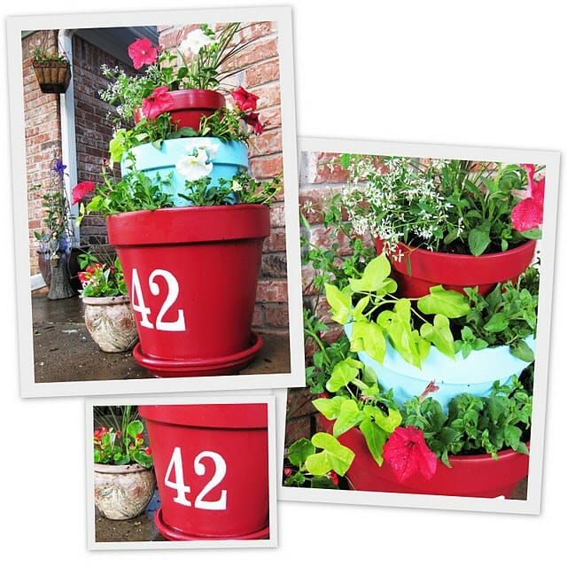 Tiered terracotta planter - you could use this concept, change the number to a flower or other creative design and make a delicious planter with herbs and edible flowers.