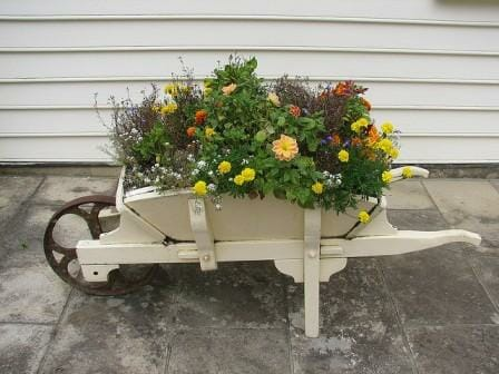 This quaint painted wheelbarrow is both a practical flower garden and a beautiful eye-catching feature. Photo: Jeannie Fletcher