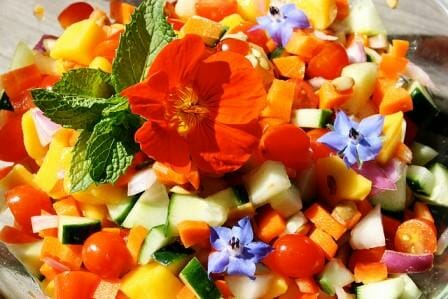 Eat your colours salad with nasturtiums