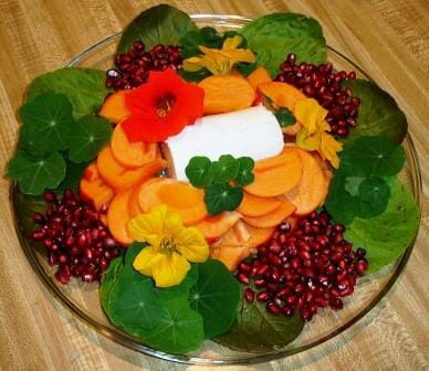 Nasturtiums as edible plate decorations
