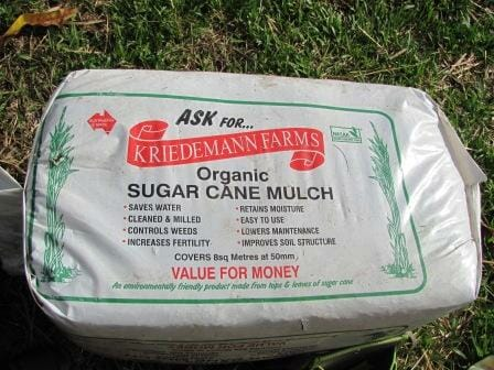 Bag of sugar cane mulch - a sustainable by-product of the sugar cane industry.