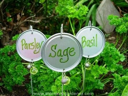 Coat hanger Wire & Tin Lid Garden Markers | The Micro Gardener