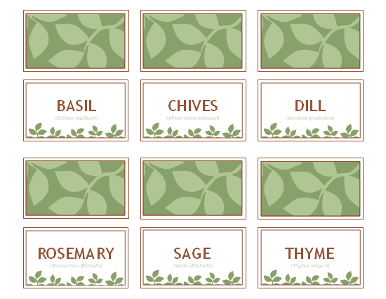 Universal image inside printable plant labels