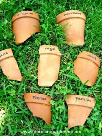 Broken terracotta pot markers | The Micro Gardener