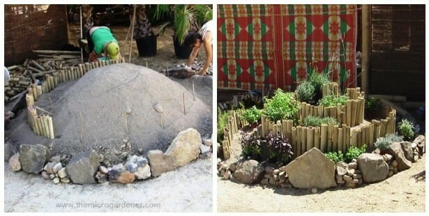 Bamboo & rock herb spiral - before & after | The Micro Gardener