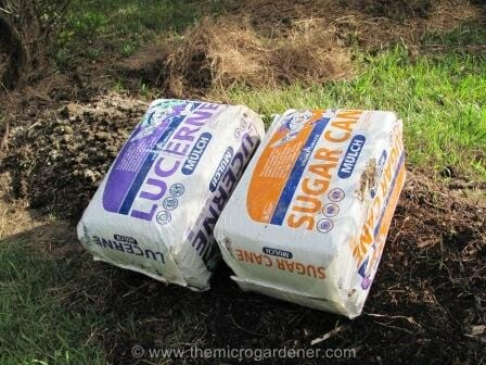 Organic lucerne and sugar cane bales | The Micro Gardener