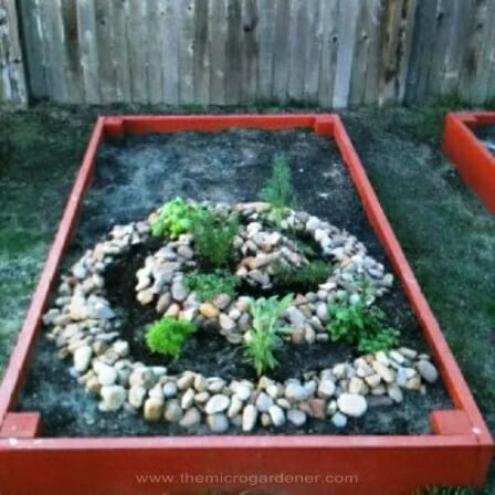 Herb spiral within a raised bed. | The Micro Gardener