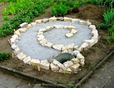 Laying out the basic shape of the spiral on top of the gravel base. | The Micro Gardener