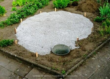 Herb spiral base pegged out, laid with drainage gravel & pond positioned. | The Micro Gardener