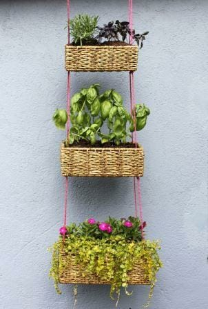DIY Tiered vertical basket planter | The Micro Gardener