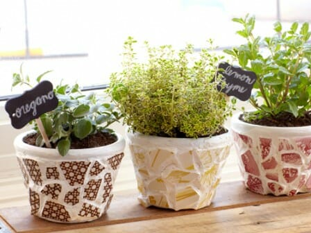 Make a mosaic pot from leftover broken pots | The Micro Gardener