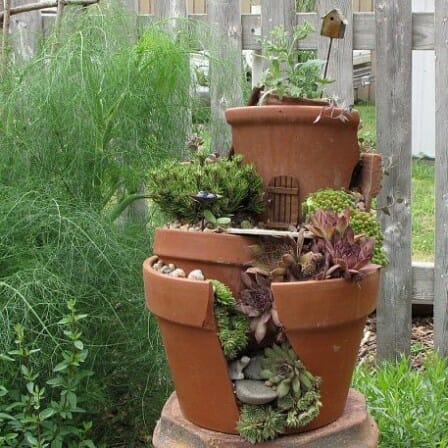 Tiered terracotta pot garden | The Micro Gardener