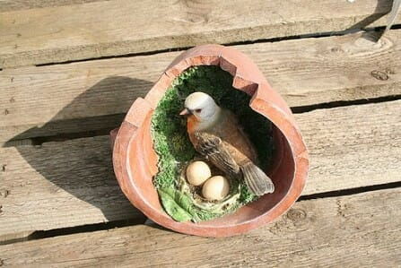 Bird's nest in flower pot garden art | The Micro Gardener