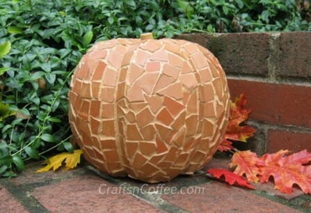 Mosaic pumpkin from terracotta pot shards | The Micro Gardener