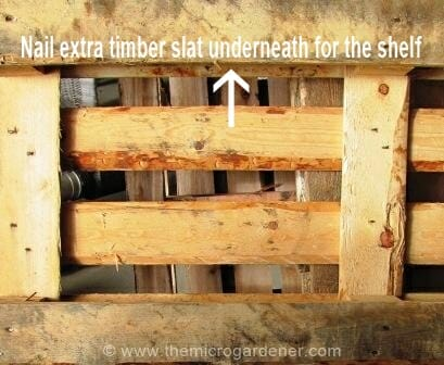 Nail timber slat cut to length underneath to form shelf on each tier of the pallet. | The Micro Gardener