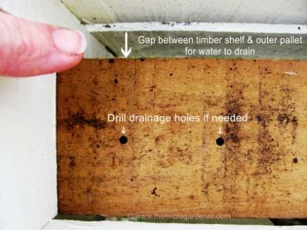 Timber slat shelf nailed in place with a gap for water to drain out | The Micro Gardener