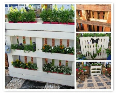Pallet planter project - on the front are window boxes and the back, a vertical fence. | The Micro Gardener