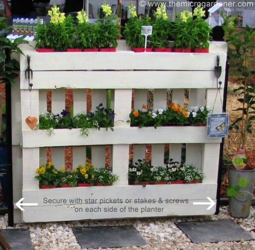 Pallet planter needs to be secured in place as it is very heavy. | The Micro Gardener