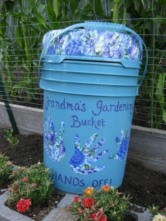 DIY Garden Seat Upcycled Painted Bucket | The Micro Gardener