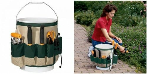 Garden bucket caddy - provides storage & makes it easy to carry all your essentials when you're out in the garden with pockets for mobile phone, tools + drink bottle. | The Micro Gardener