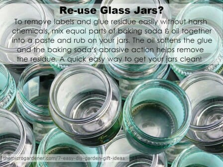 Easy way to clean your jars and remove the sticky label and glue residue without using harsh chemicals. | The Micro Gardener