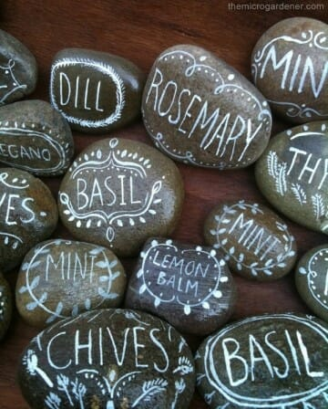 Painted herb plant markers on smooth rocks - garden gift idea | The Micro Gardener