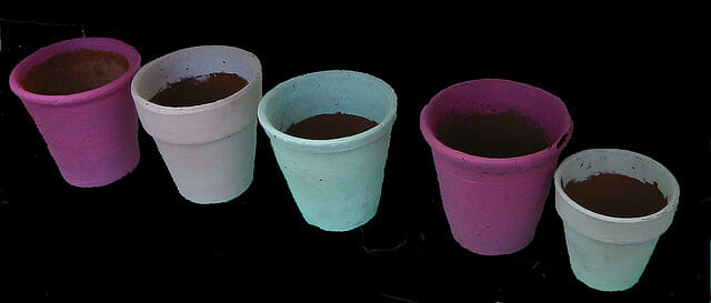 Painting old pots is a low cost way to give them a new life