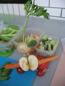 Making veggie men is a way for children to learn about fresh food