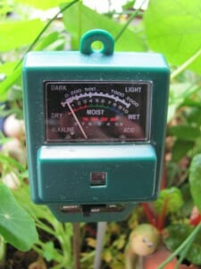 Water Saving Tip for Container Gardens: Use a moisture meter. An ideal moisture range is 40-70%. Water when dry (10-30% soil moisure); Don't water when wet (80%+)