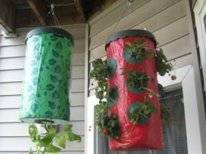 Make use of hanging space under a deck, patio or roof with vertical garden grow bags. | The Micro Gardener