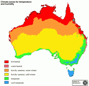 Climate zones for Australia from the Bureau of Meterology.