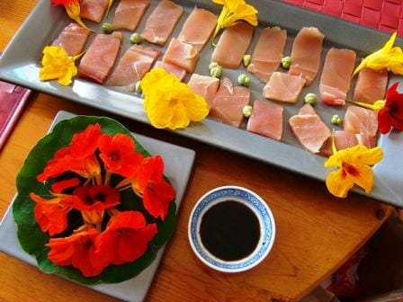 20 Uses for Nasturtiums: Nasturtium capers with sashimi & salad
