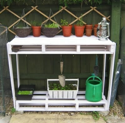 Convert a wooden pallet into a useful potting bench | The Micro Gardener