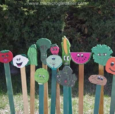 Colourful wooden kids plant markers | The Micro Gardener