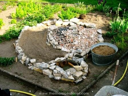 Filling up base with rubble | The Micro Gardener