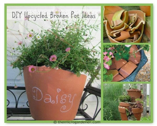 DIY upcycled broken pot ideas