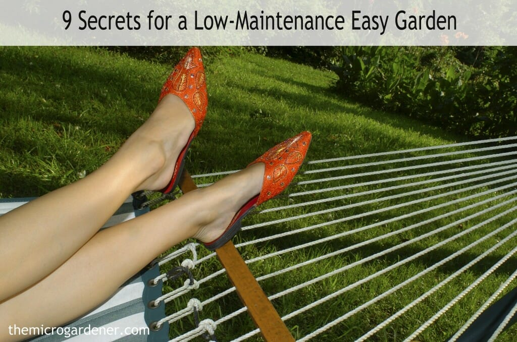 9 Secrets for a Low-Maintenance Easy Garden - Tips include Good Design; No-dig Gardens; Choosing Plants Wisely; Mulch + more. Dig in!